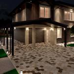 Визуализация экстерьера дома по чертежам заказчика + разработка ландшафтного дизайна. Время разработки 96  часов.