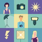Сет иконок в стиле флет на тему фотостудии, 4 часа.