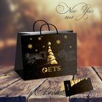 открытка и пакет на новогоднюю тематику